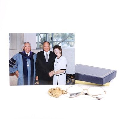 Dr. Robert Schullers Eyeglasses and Founding Pastor Medal
