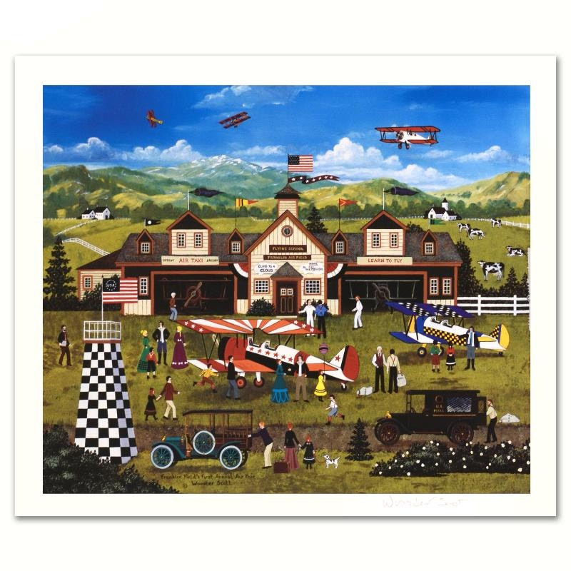 "Jane Wooster Scott Limited Edition Lithograph ""Franklin Field's First Annual Air Fair"""