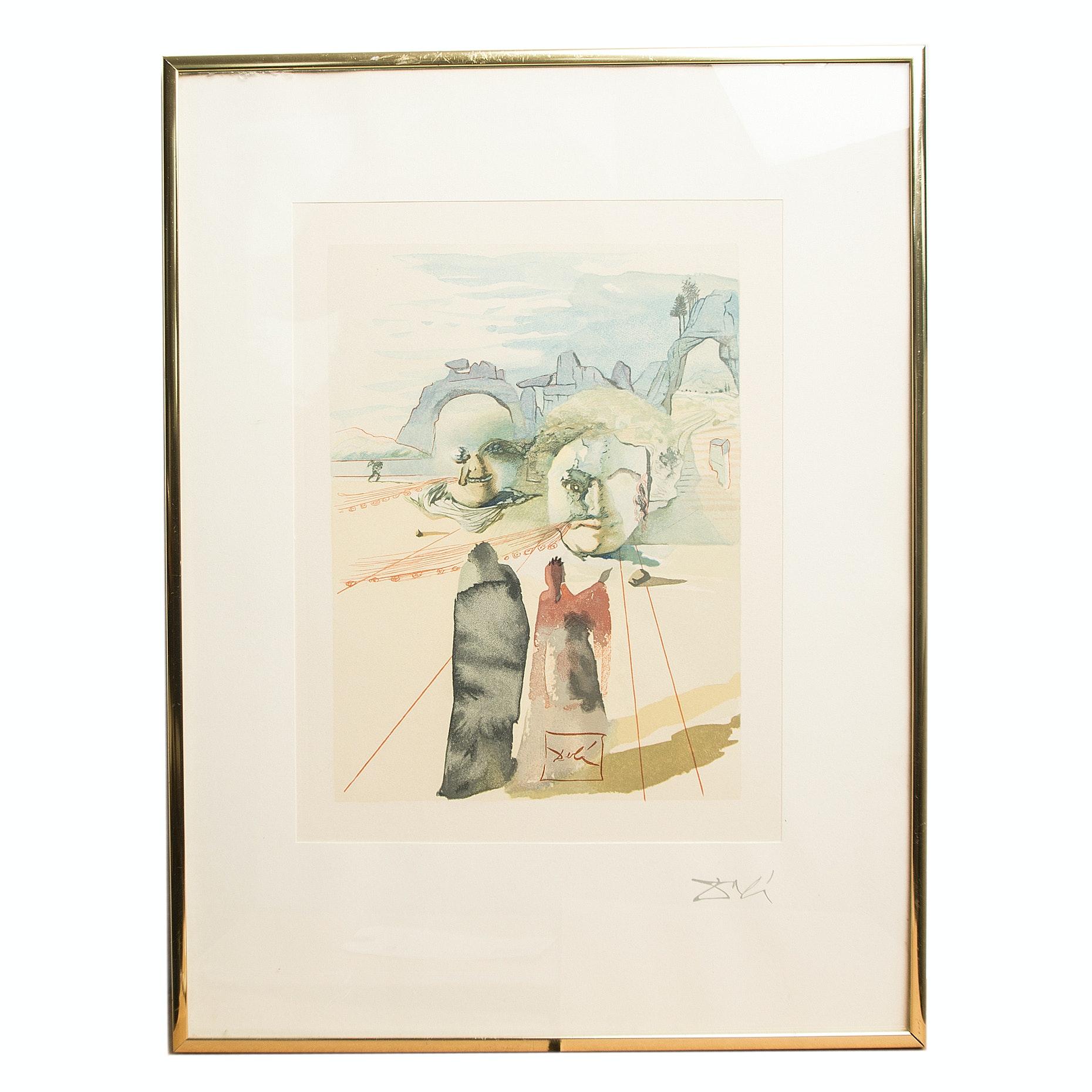 "Salvador Dali Wood Engraving ""Purgatory Canto 20: Avarice et Prodigalite"""