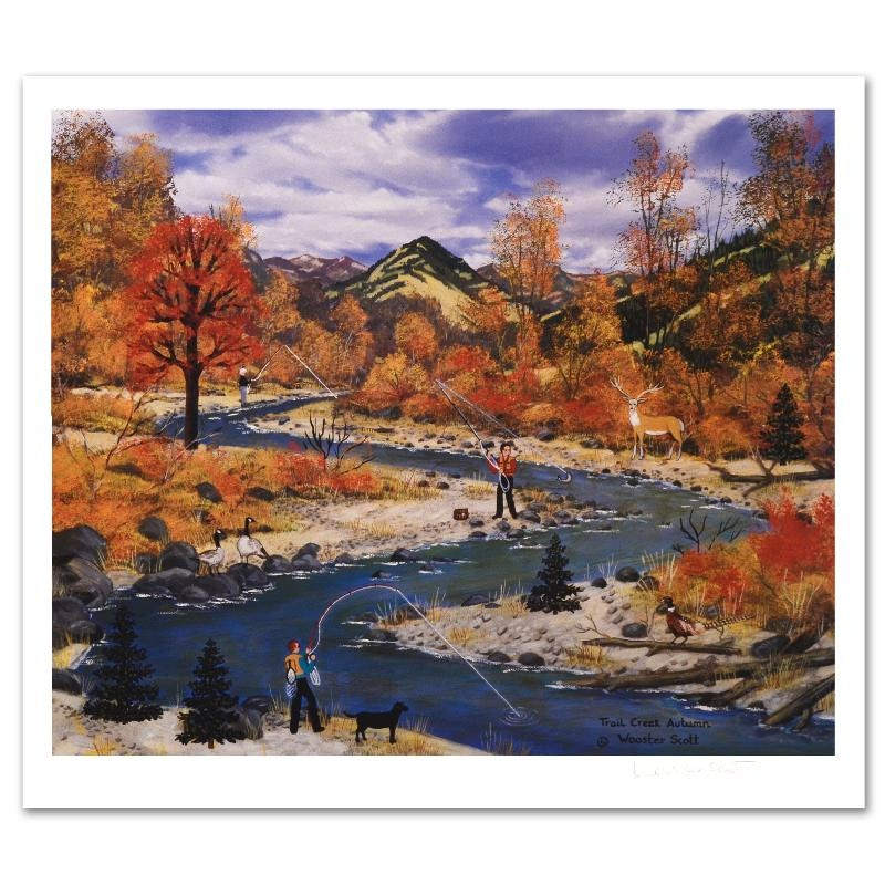 Jane Wooster Scott Limited Edition Lithograph 'Trail Creek Autumn""