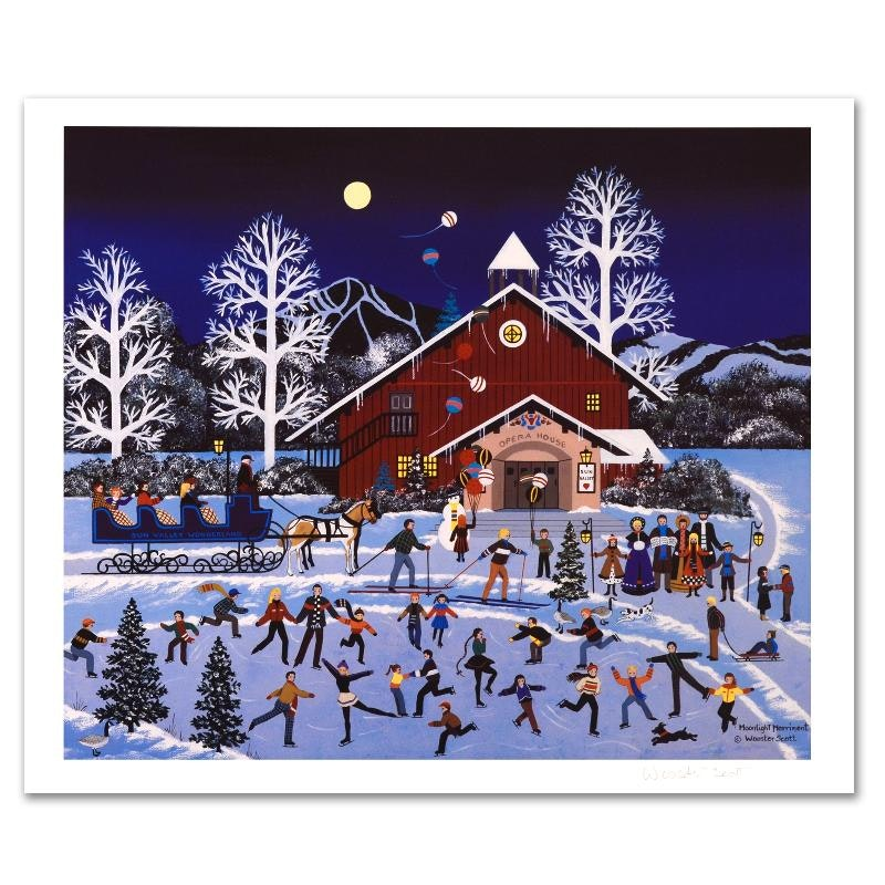 "Jane Wooster Scott ""Moonlight Merriment"" Limited Edition Lithograph"