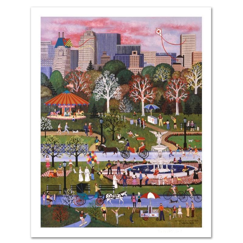 "Jane Wooster Scott ""Springtime in Central Park"" Limited Edition Lithograph on Paper"