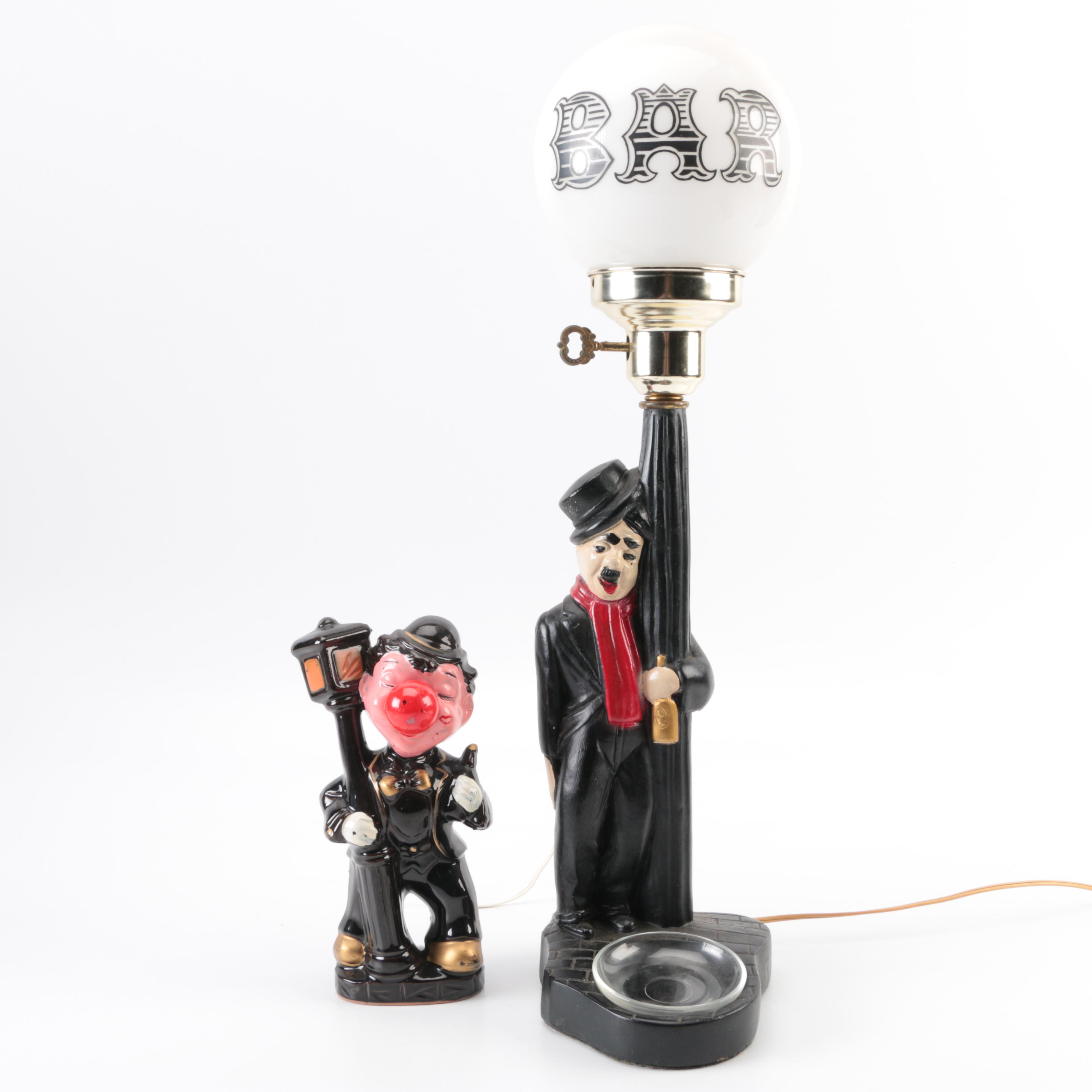 Charlie Chaplin Bar Lamp and Clown Lamp : EBTH