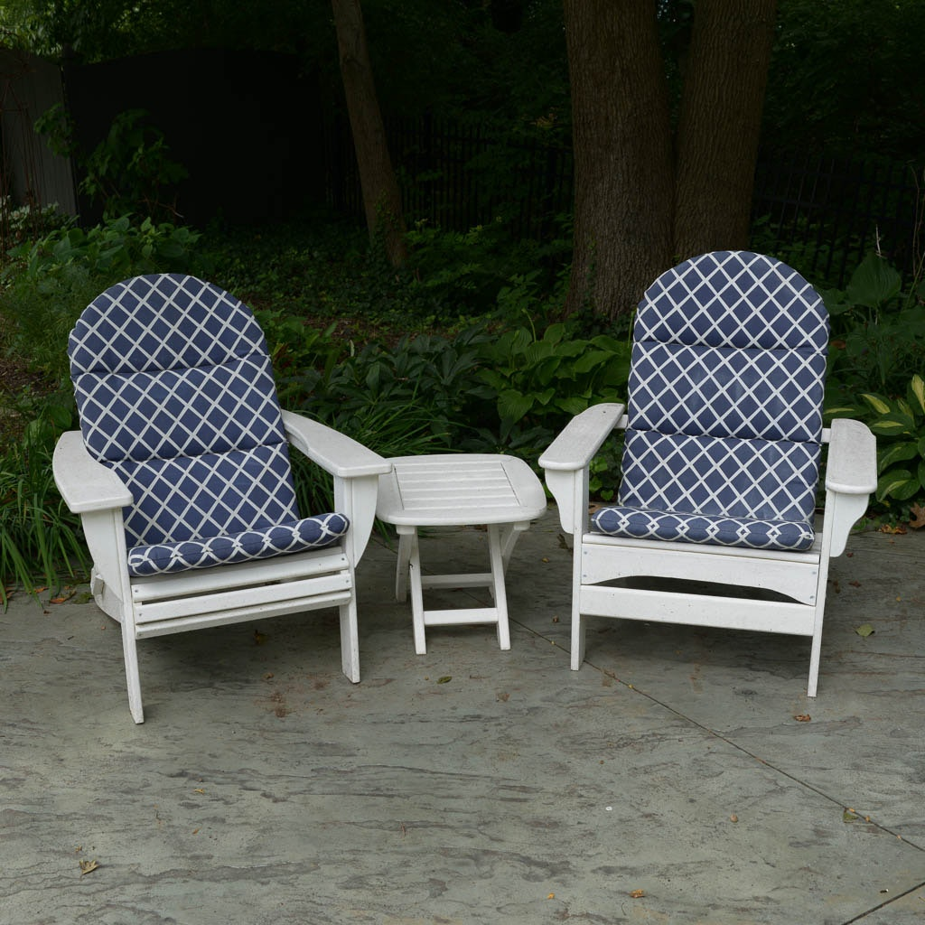 Pair of White All-Weather Wood Adirondack Chairs With Table