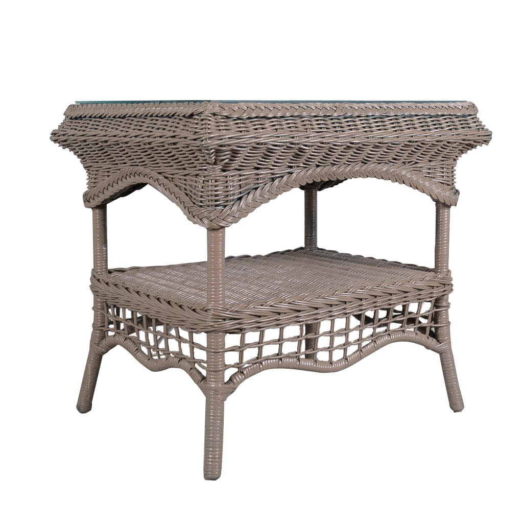 Amazing Taupe Wicker Patio Side Table Plan - Cool resin wicker side table Photos
