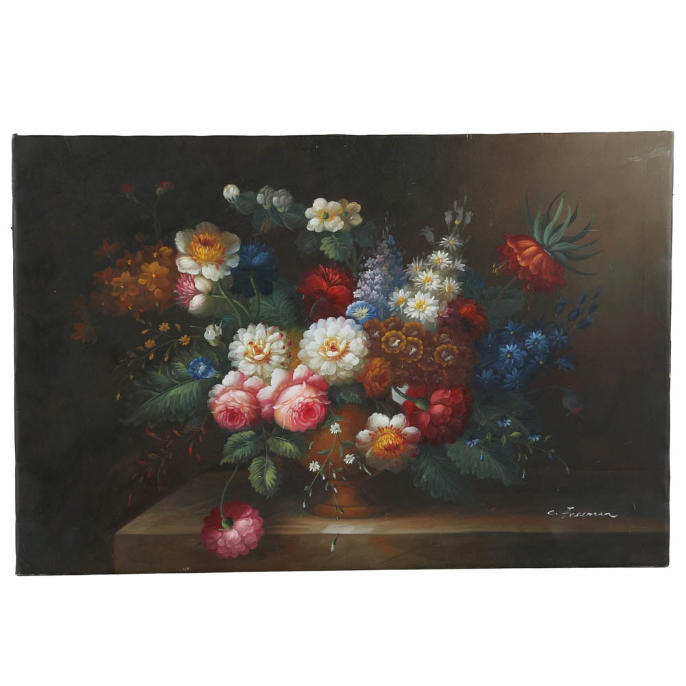 C. Freeman Acrylic Painting of Floral Still Life