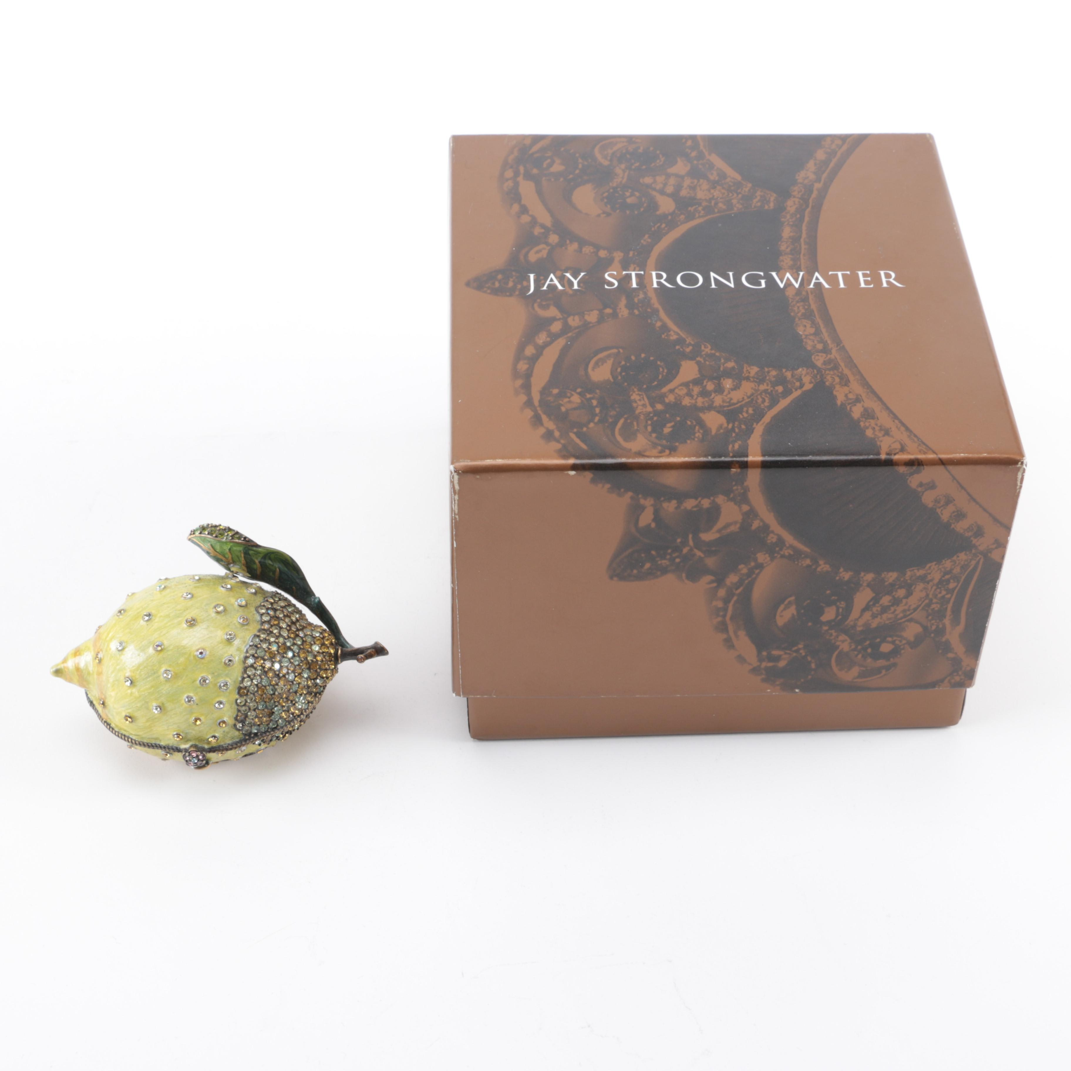 Jay Strongwater Lime-Shaped Trinket Box