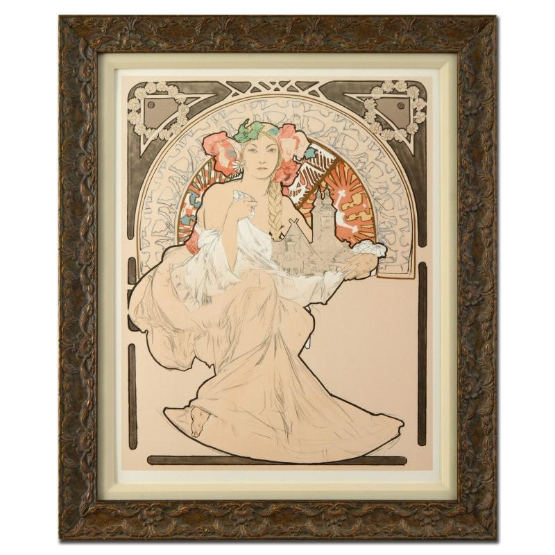 "Lithograph after Alphonse Mucha ""Lovely Protector #267"""