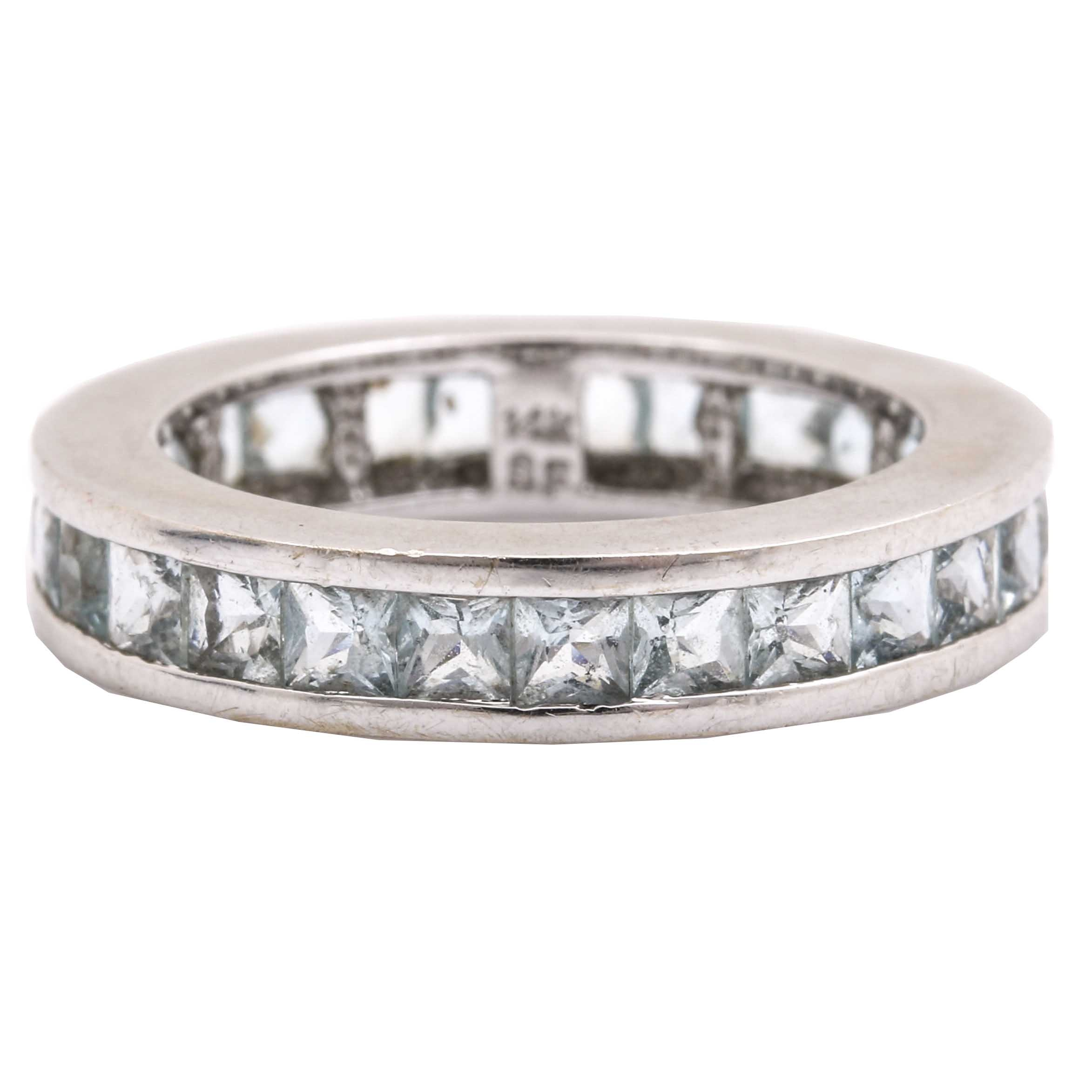 14K White Gold 1.65 CTW Aquamarine Eternity Ring