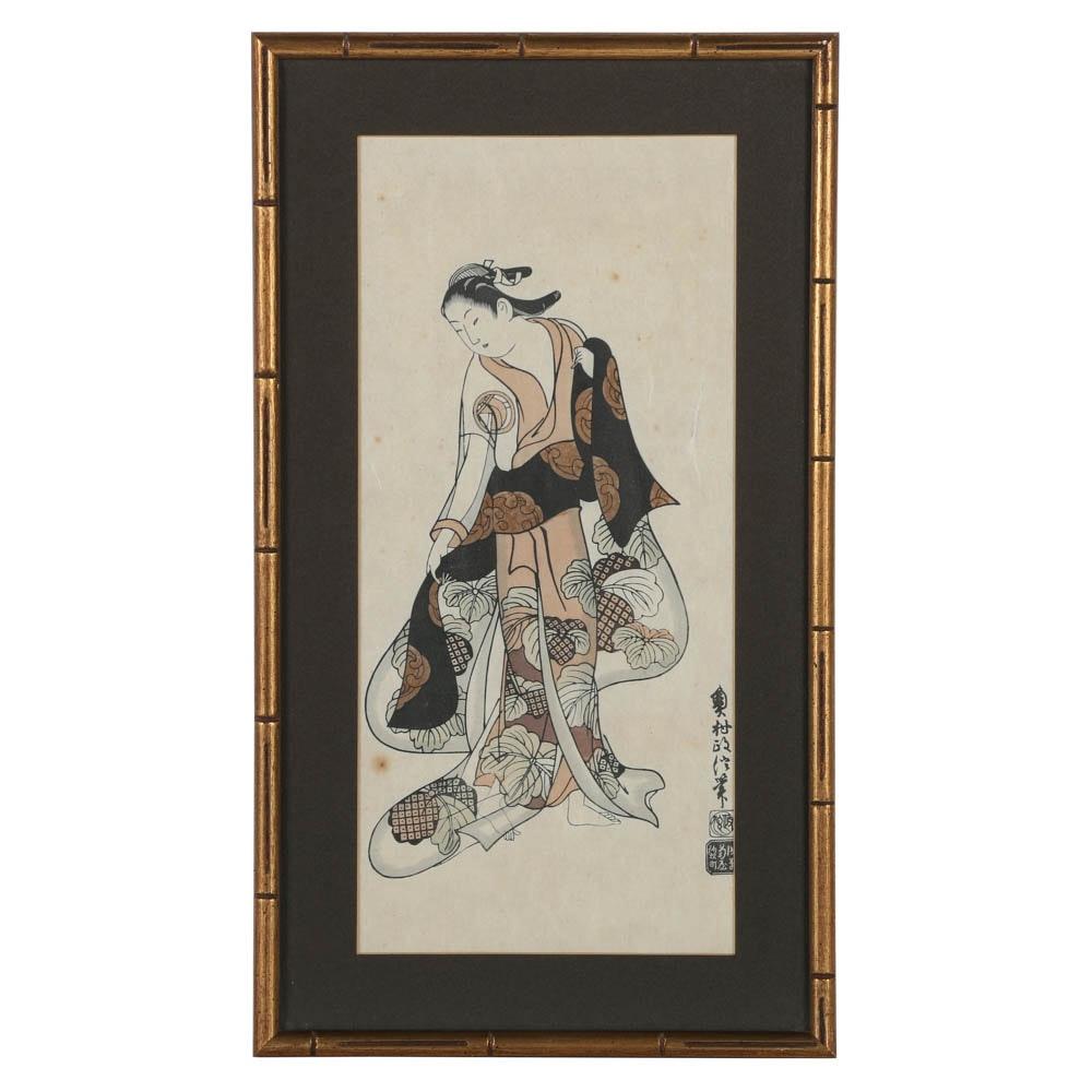 Restrike Woodblock of Edo-Period Woman
