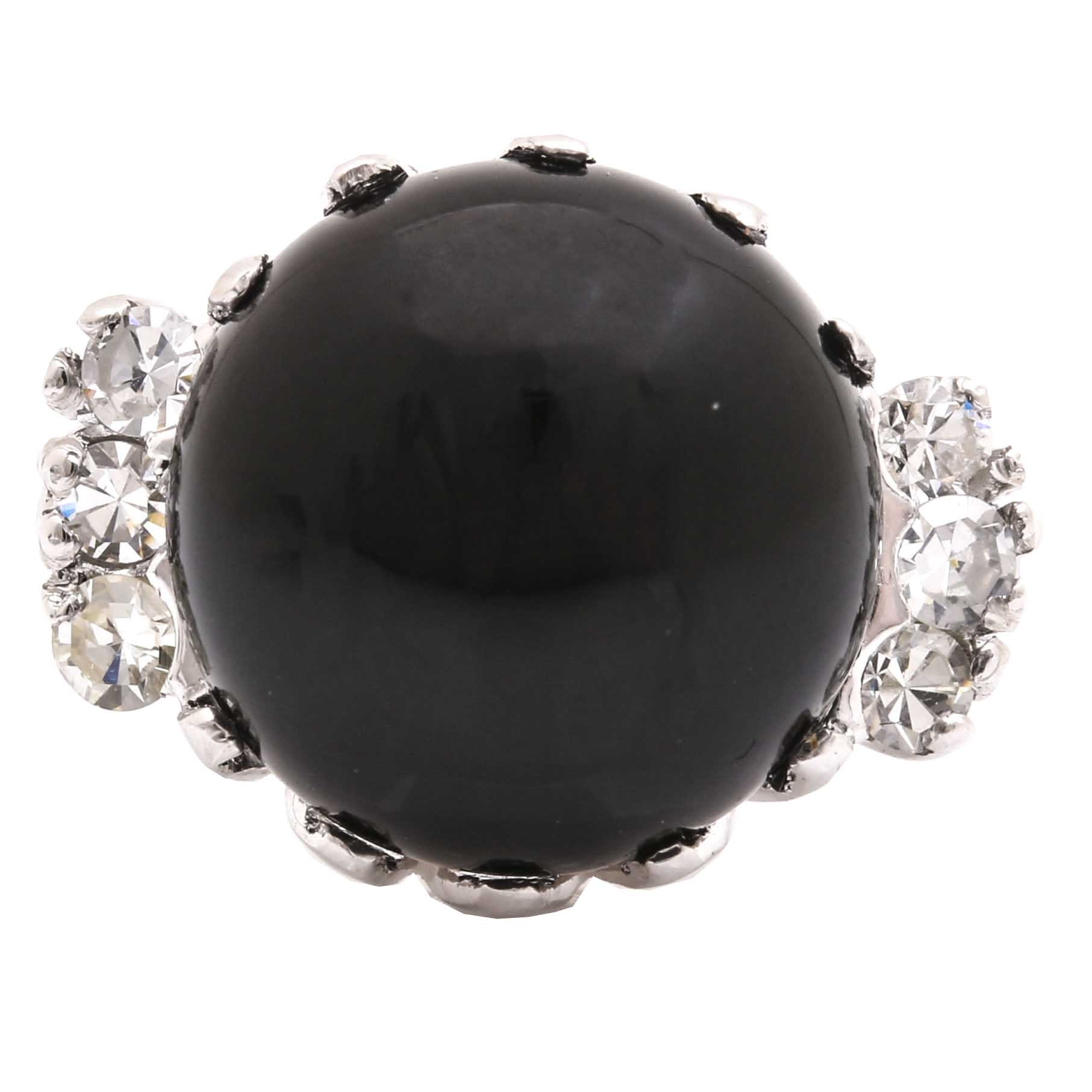 14K White Gold Black Onyx and Diamond Ring