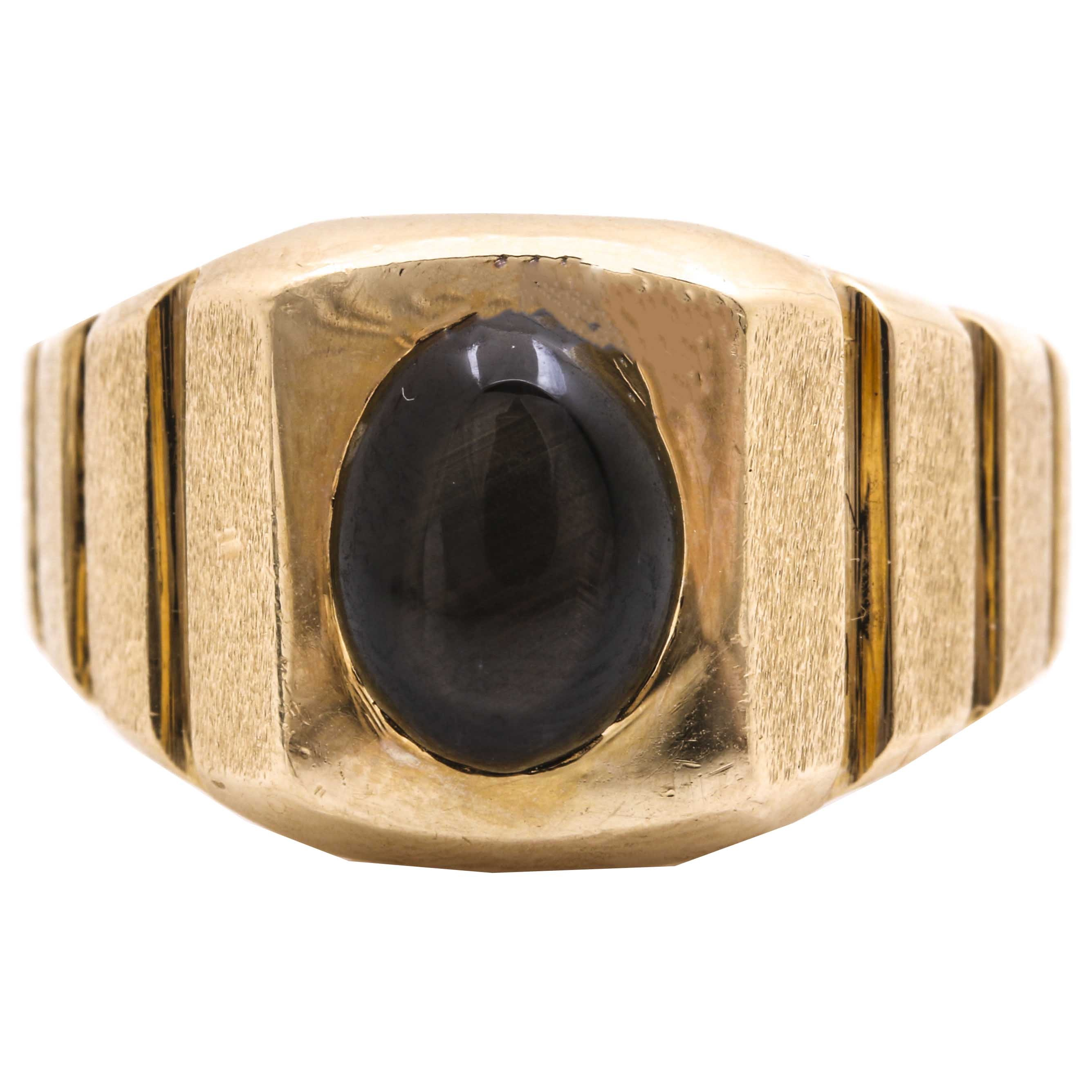 14K Yellow Gold 1.60 CT Black Star Sapphire Ring