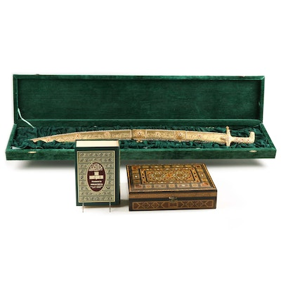 Middle Eastern Box, Koran and Sword from Grand Mufti Kuftaro