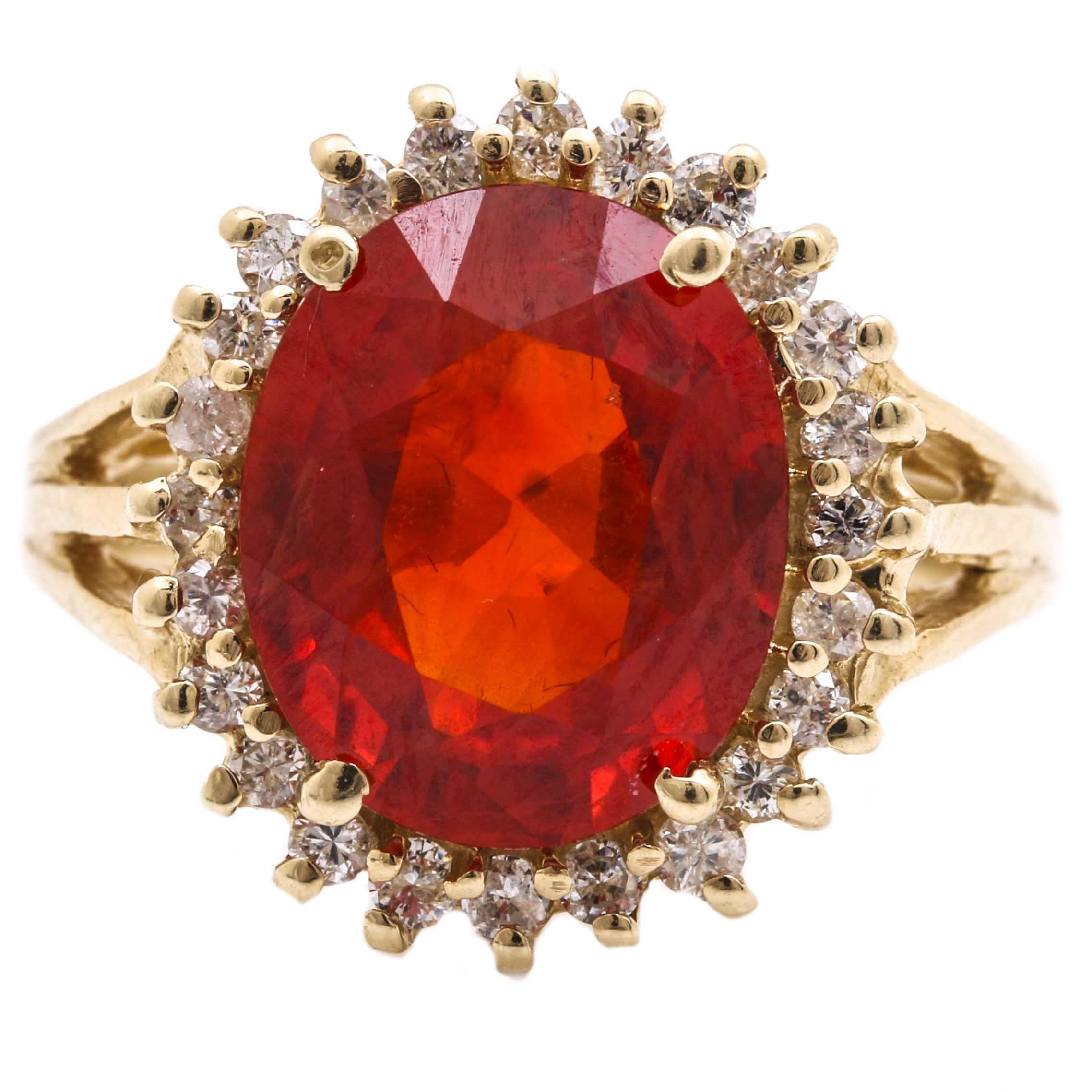 14K White Gold 4.80 CT Orange Sapphire and Diamond Ring