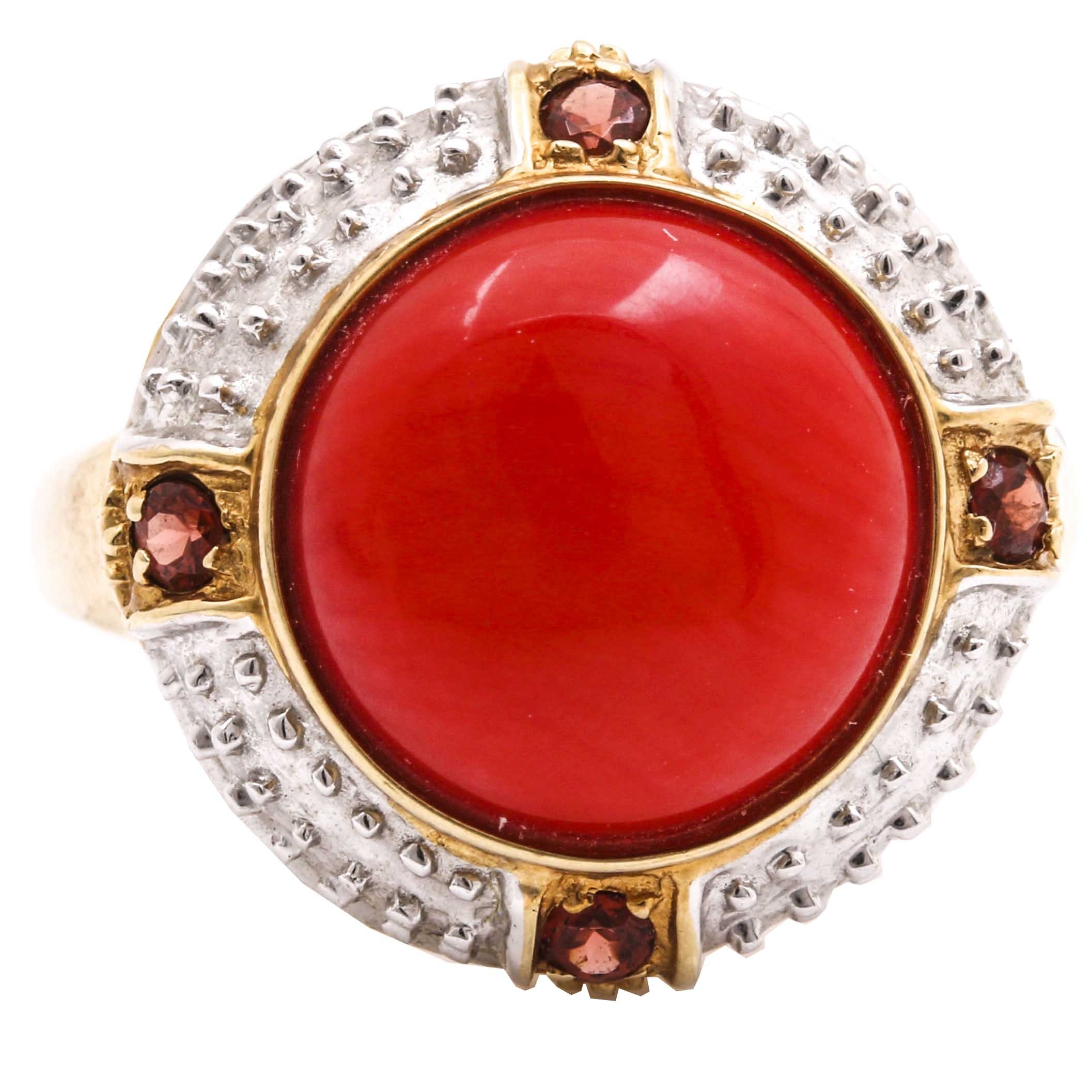 14K Two Tone Gold Red Coral and Garnet Gemstone Ring