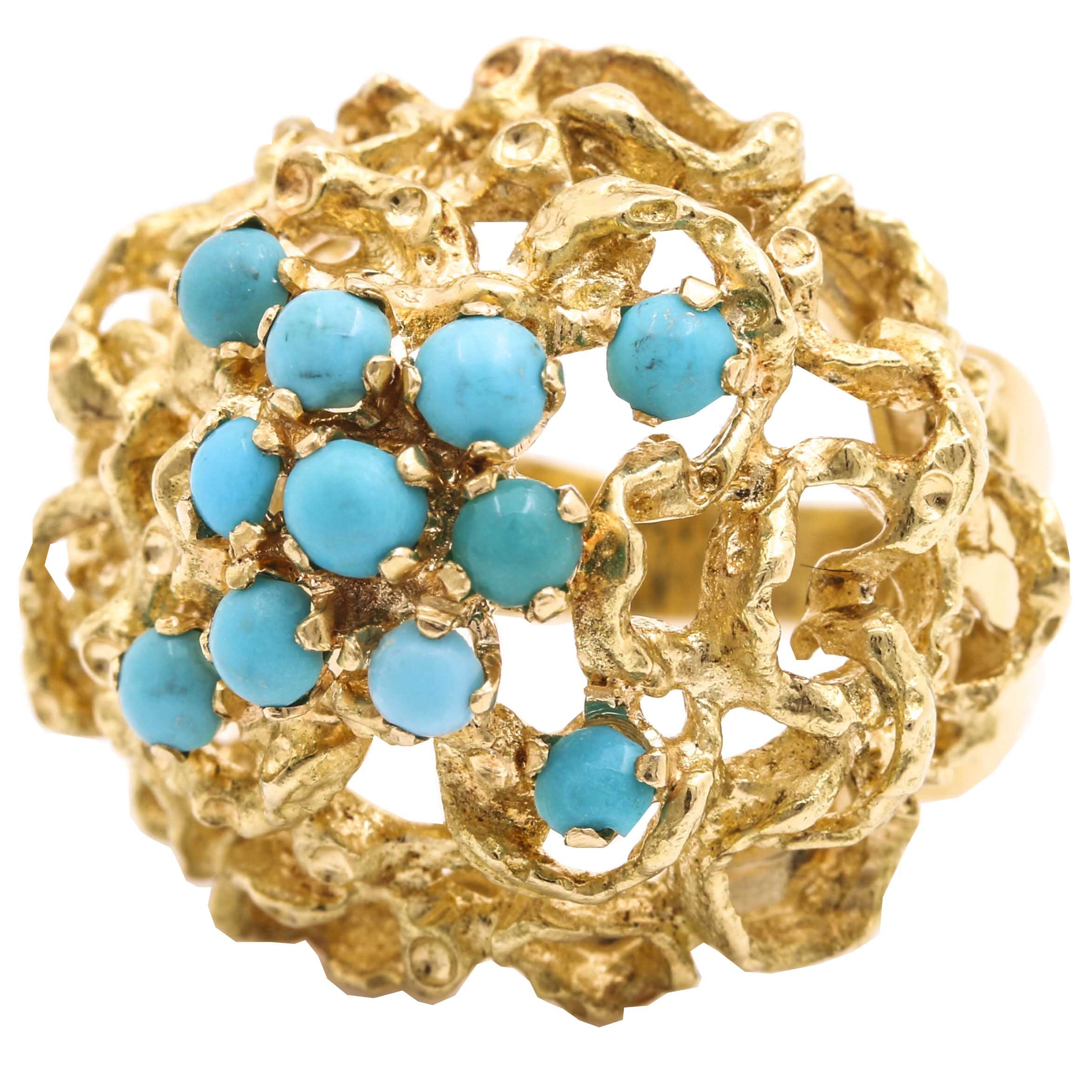 18K Yellow Gold Turquoise Dome Ring
