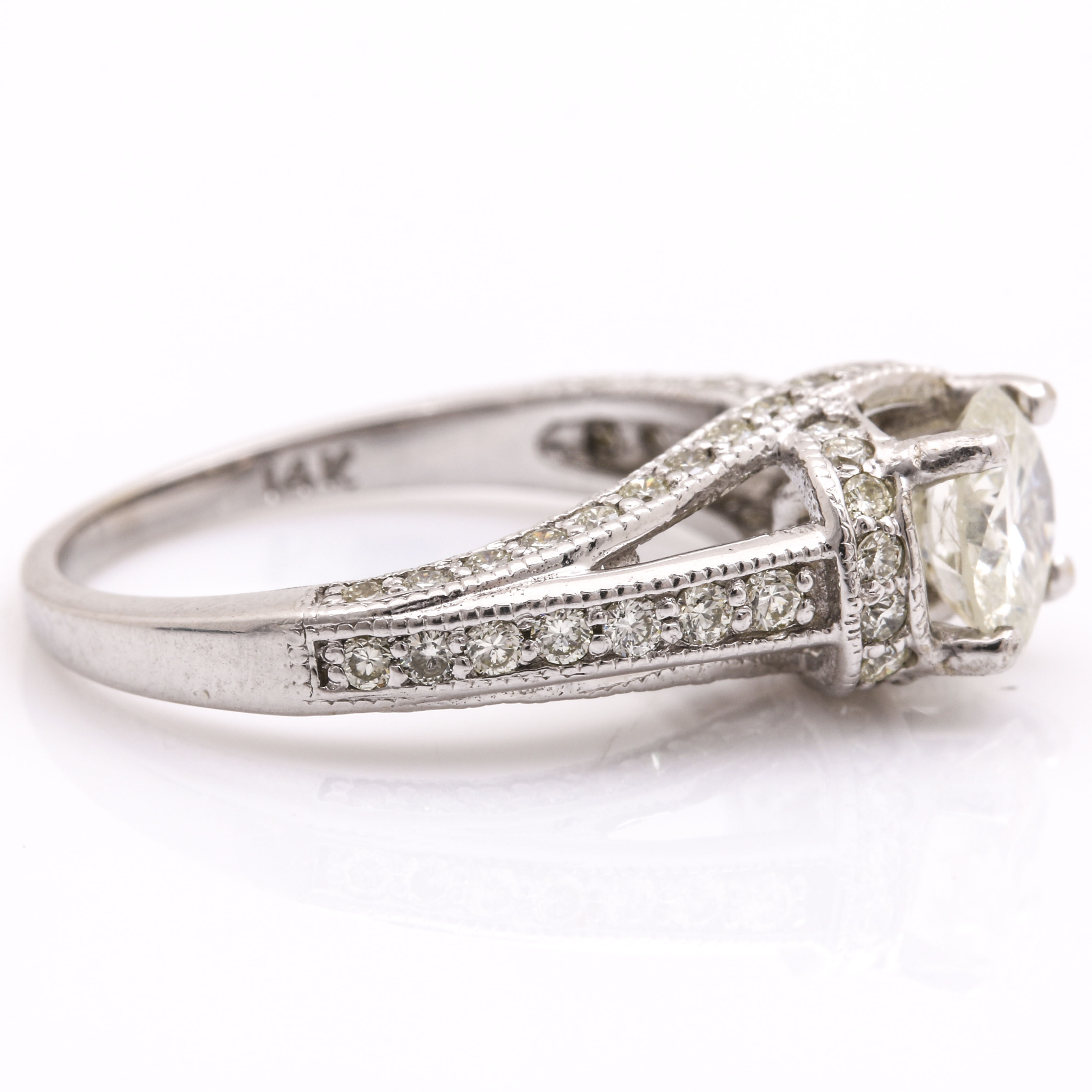 14k White Gold 1 70 Ctw Diamond Encrusted Ring Ebth