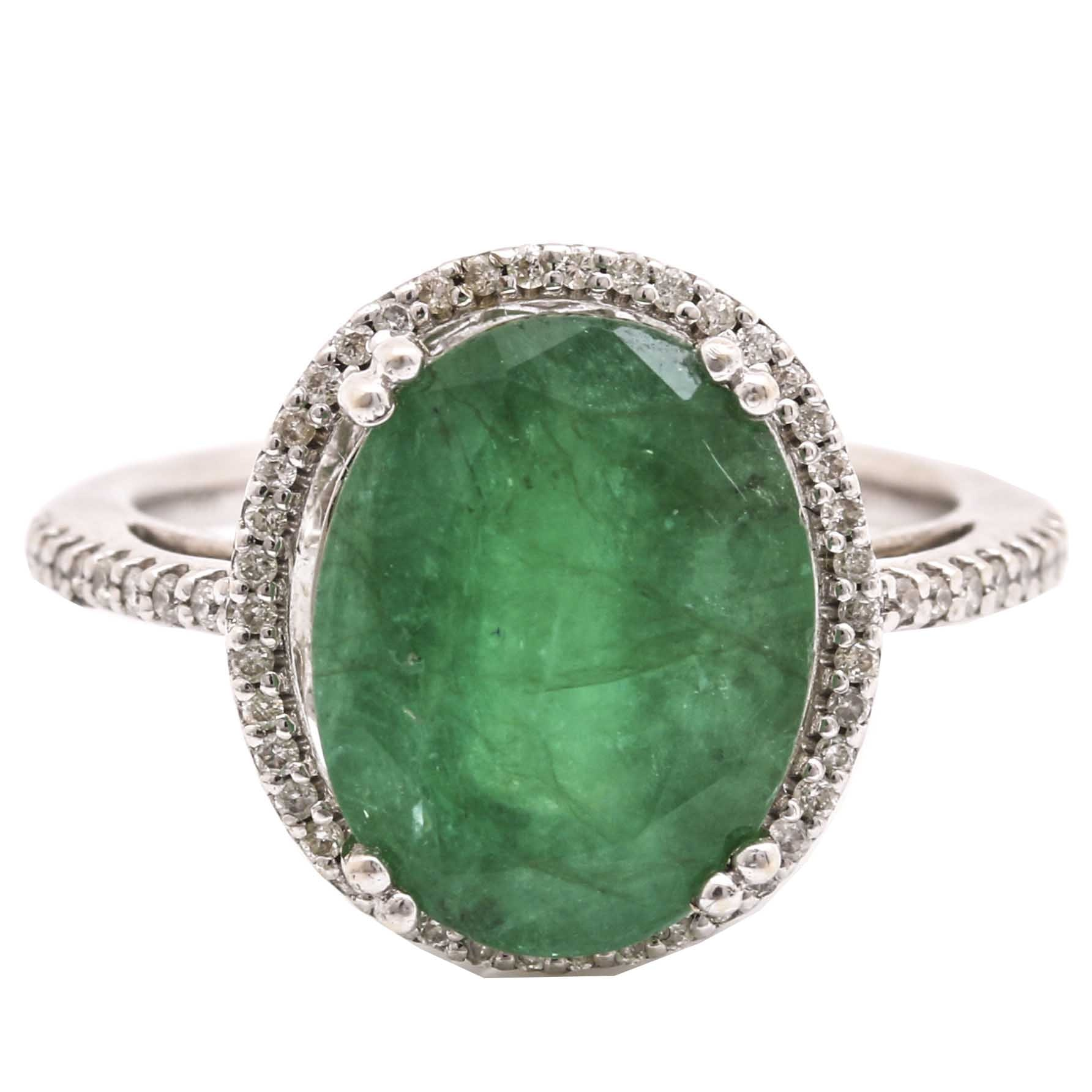 14K White Gold 5.18 CT Emerald and Diamond Ring