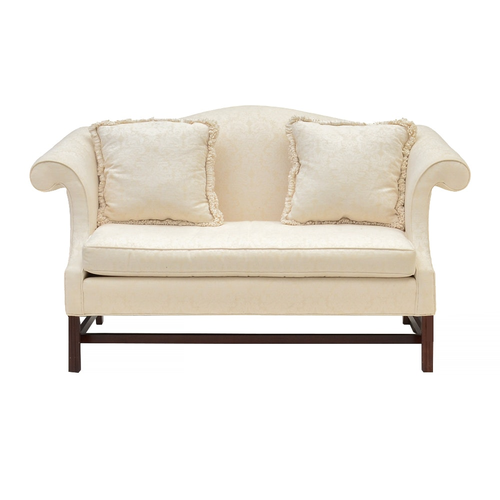 White Camel-Back Loveseat