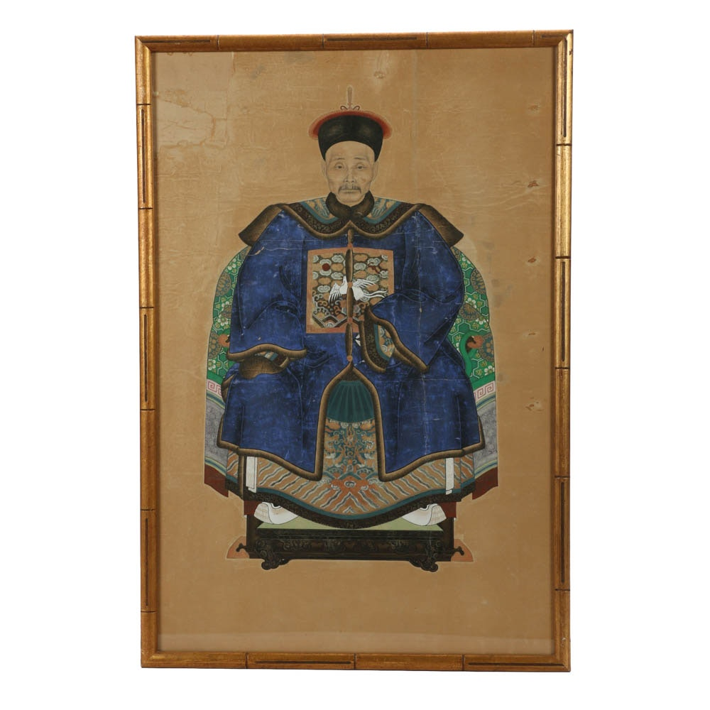 Antique Chinese Ancestor Gouache Painting