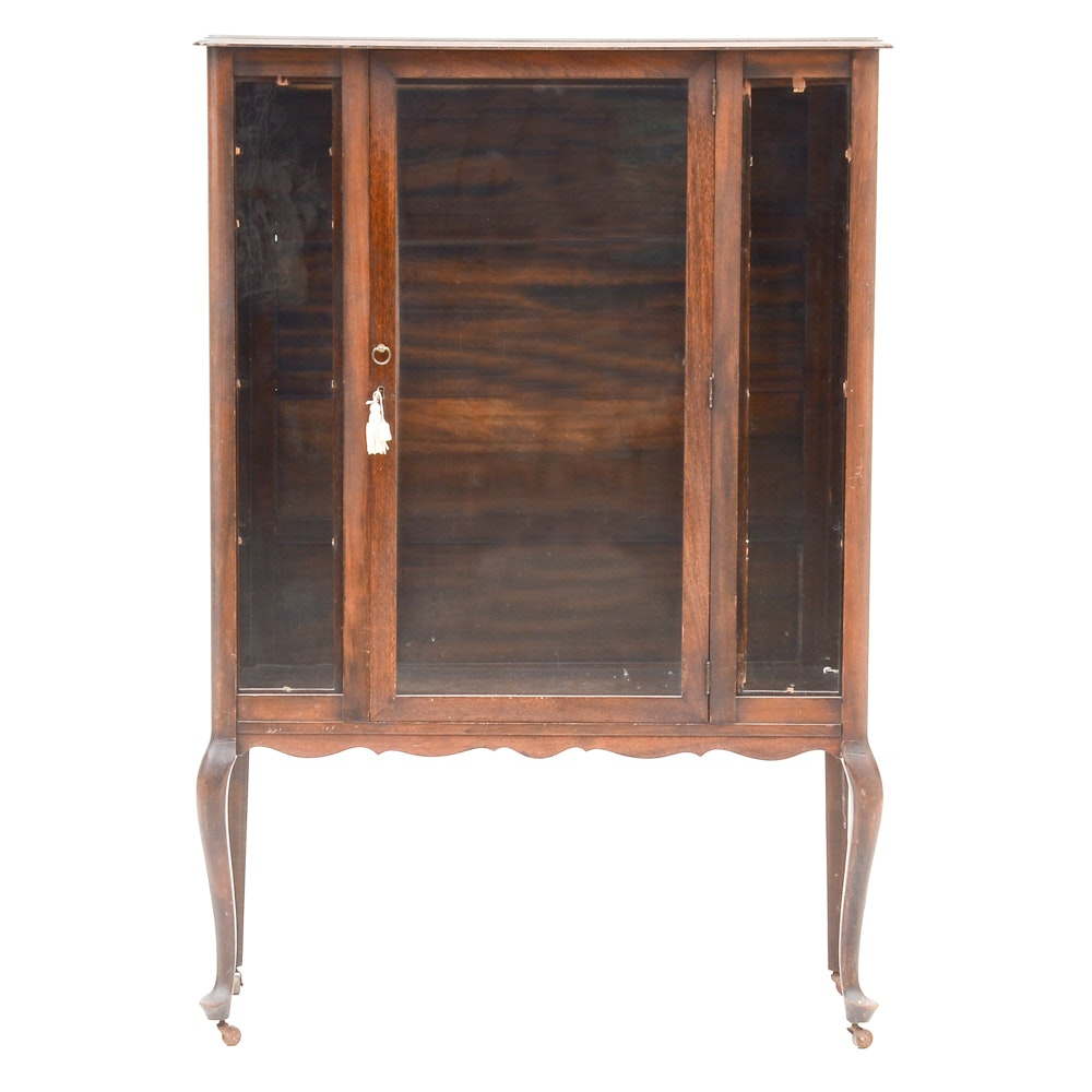 1920s Queen Anne Style China Cabinet