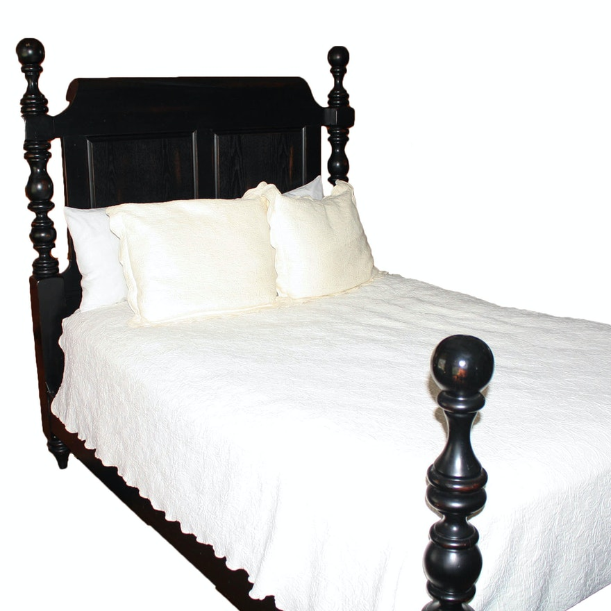Ebonized Queen Size Cannonball Bed : EBTH