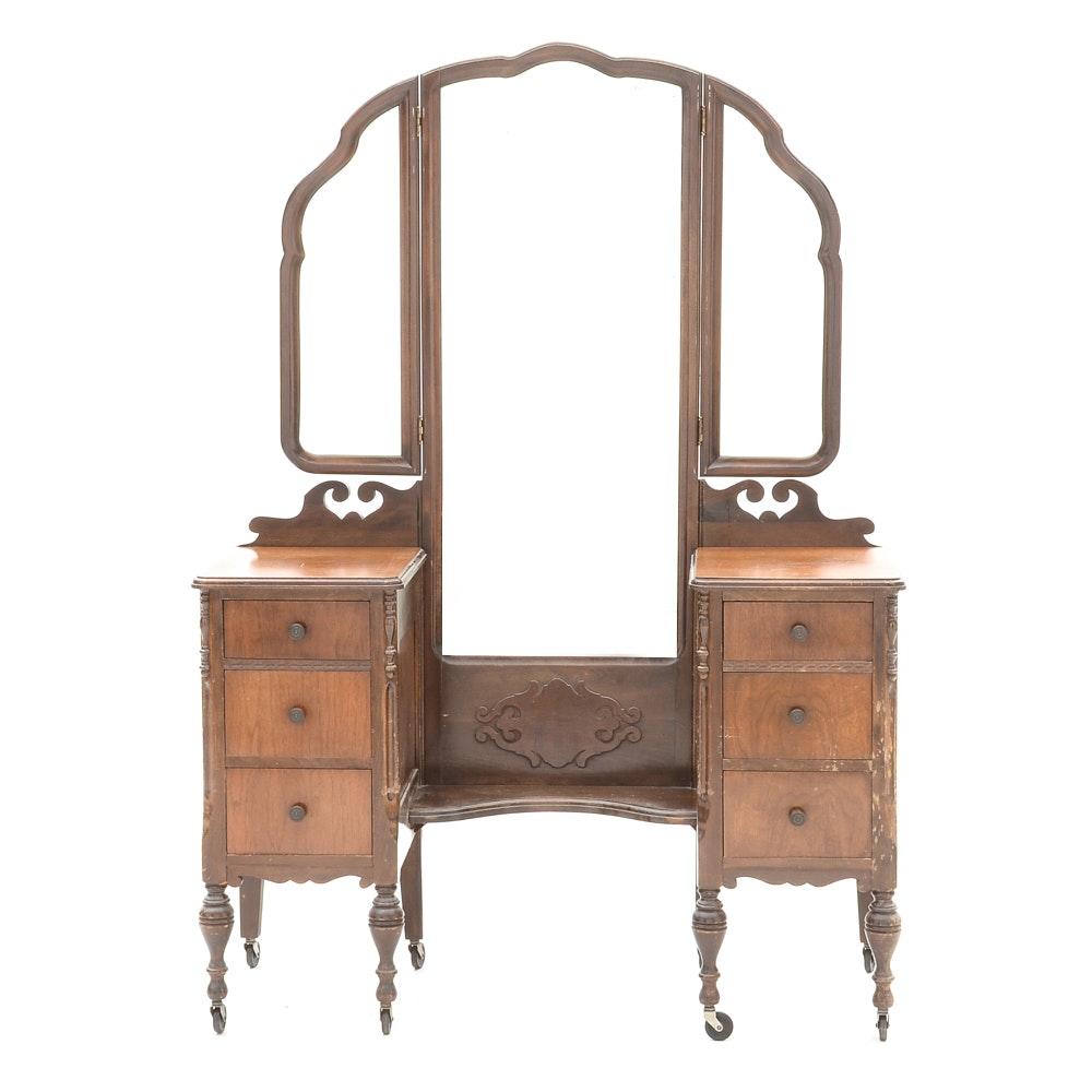 1920s Three-Mirror Walnut Vanity