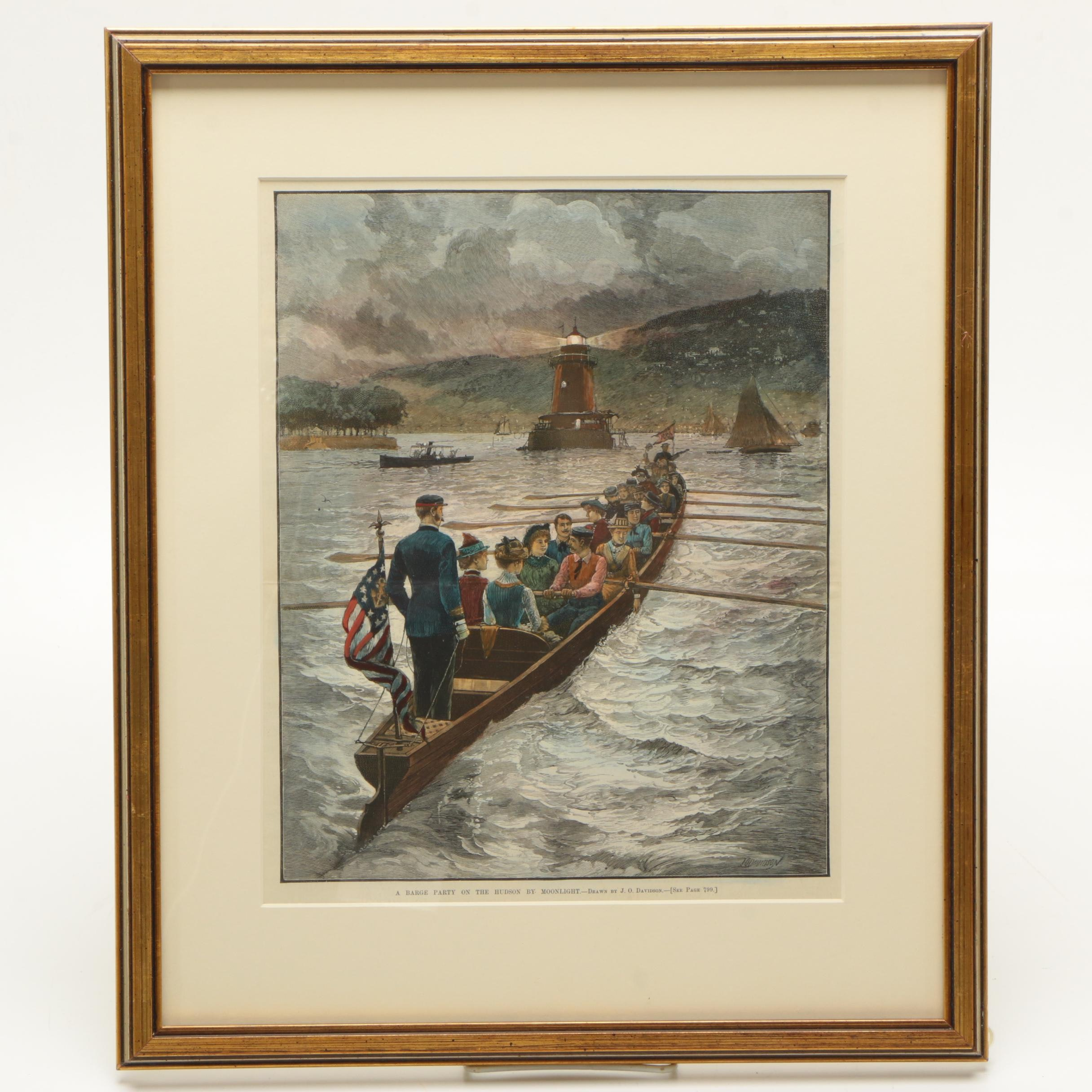 """1889 Julian Oliver Davidson Hand-colored Wood Engraving """"A Barge Party on the Hudson by Moonlight"""""""