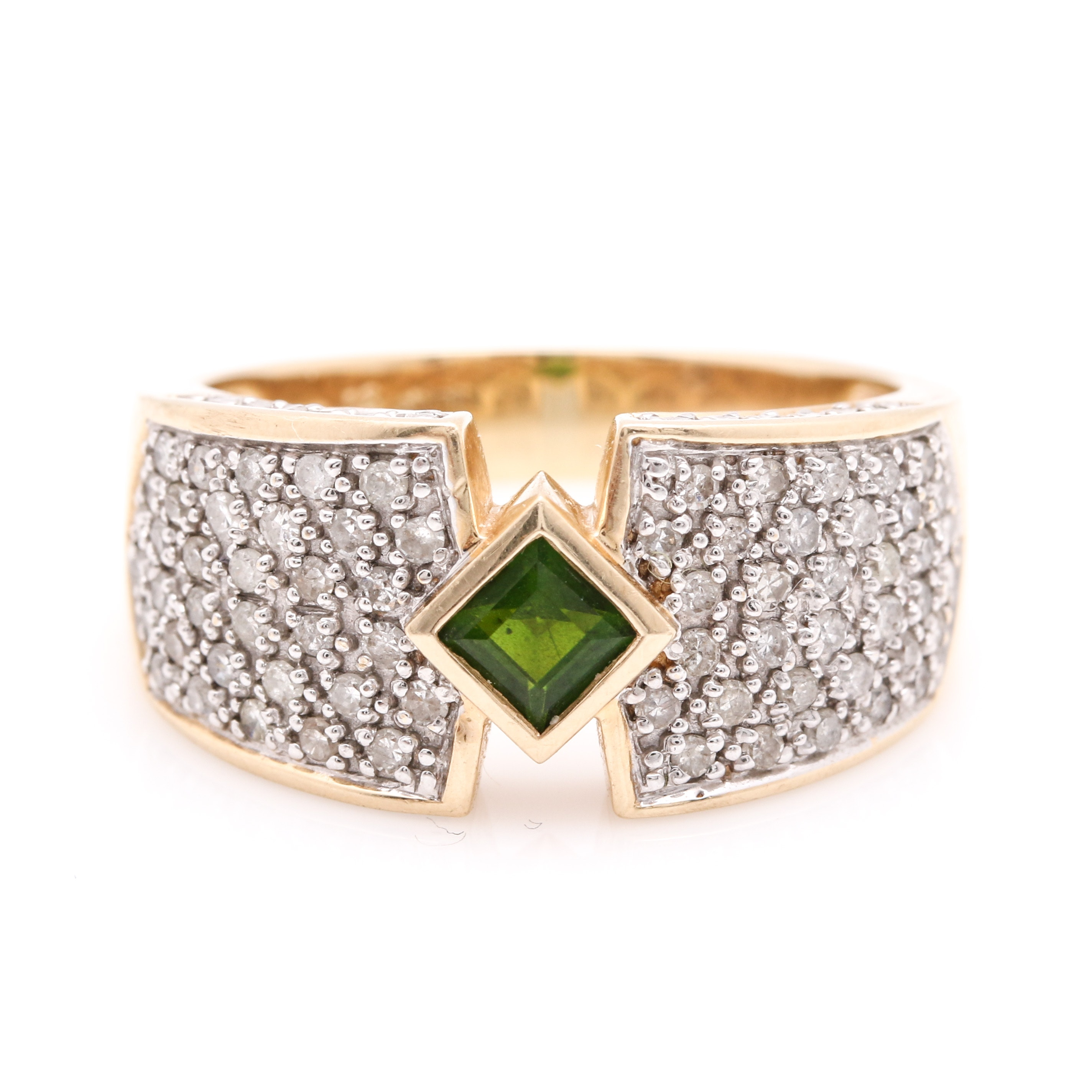 14K Yellow Gold 0.92 CTW Diamond and Green Tourmaline Ring