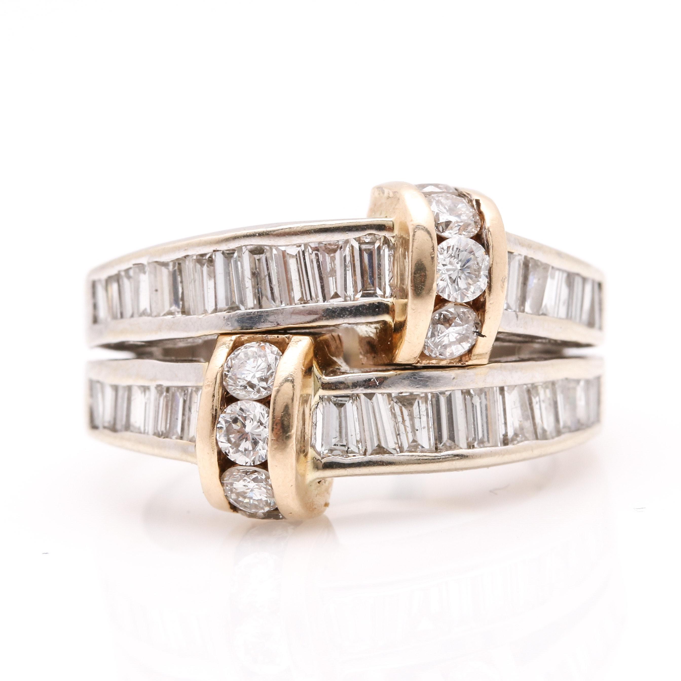14K Two Tone Double Shank 1.53 CTW Diamond Ring