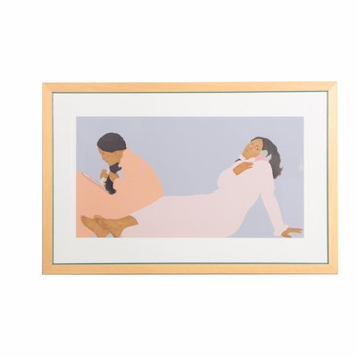 Pegge Hopper Limited Edition Serigraph on Paper of Two Women