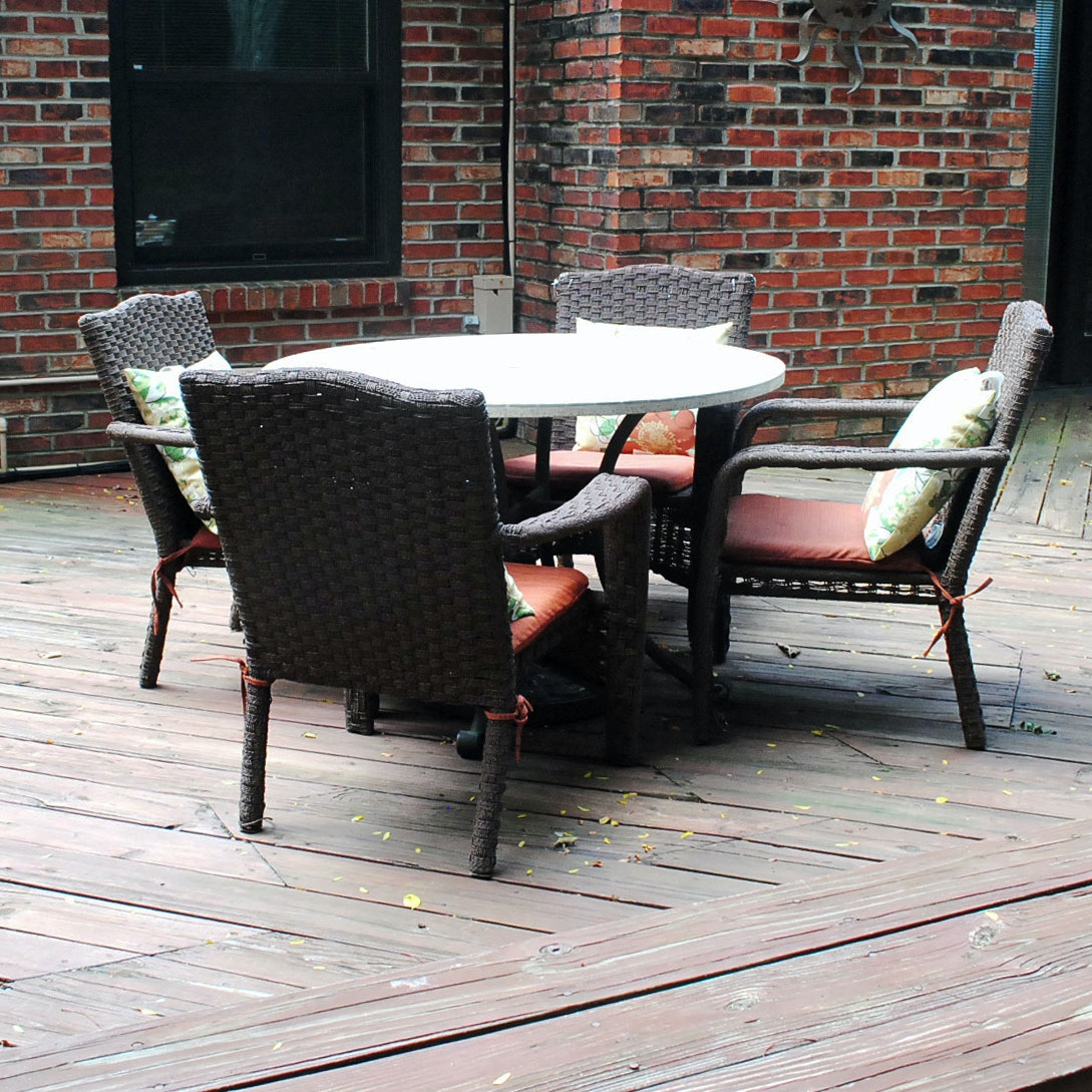 Wicker Style Metal Patio Table With Chairs