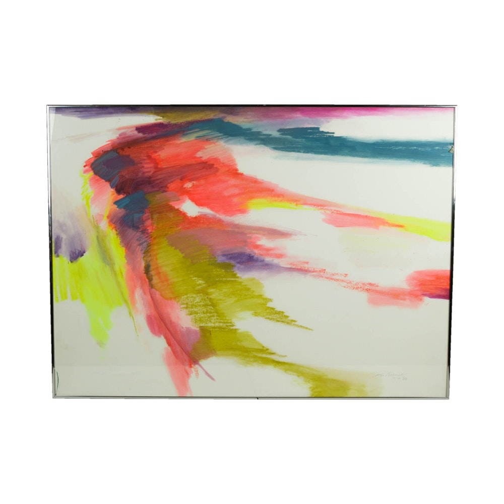 Don Werner Framed Abstract Watercolor Painting