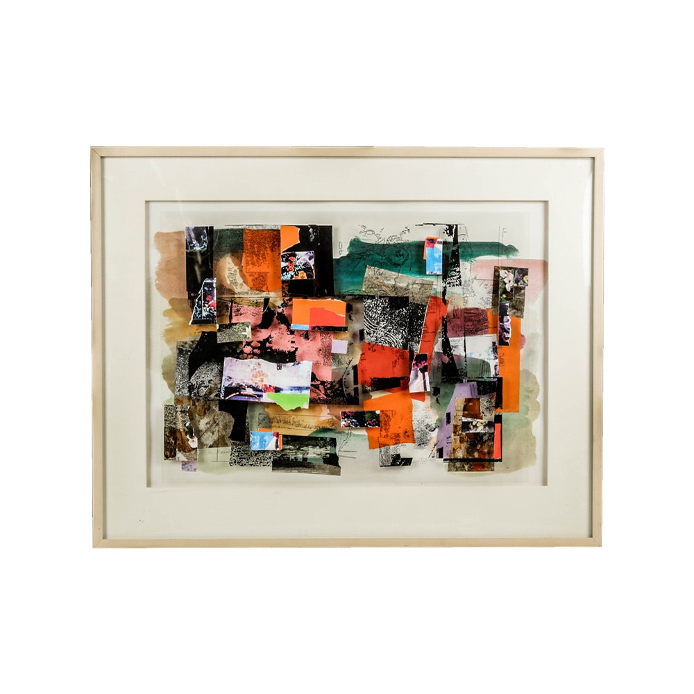"Don Werner Framed Mixed Media Collage ""Gatherings"""