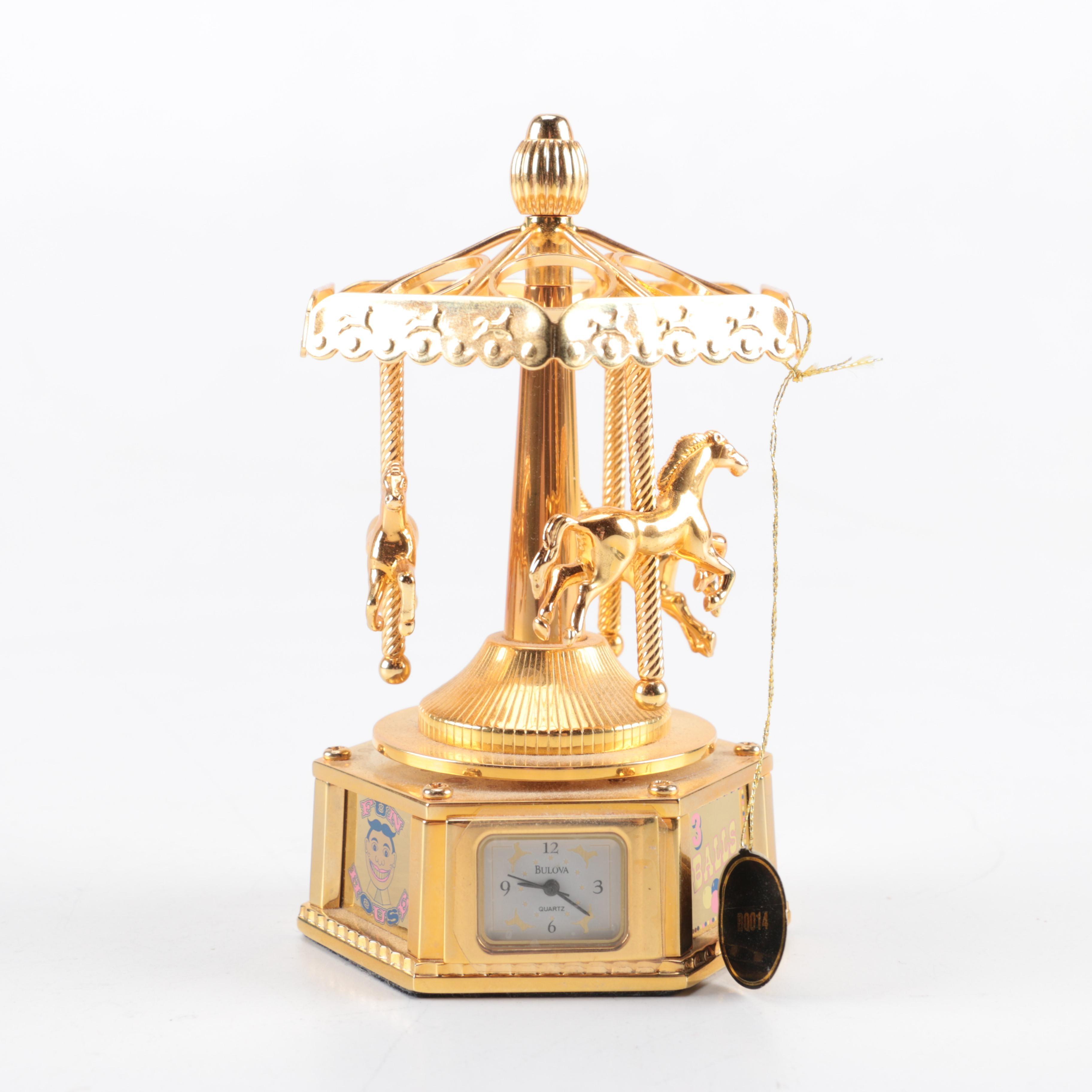 Bulova Gold Tone Carousel Musical Clock