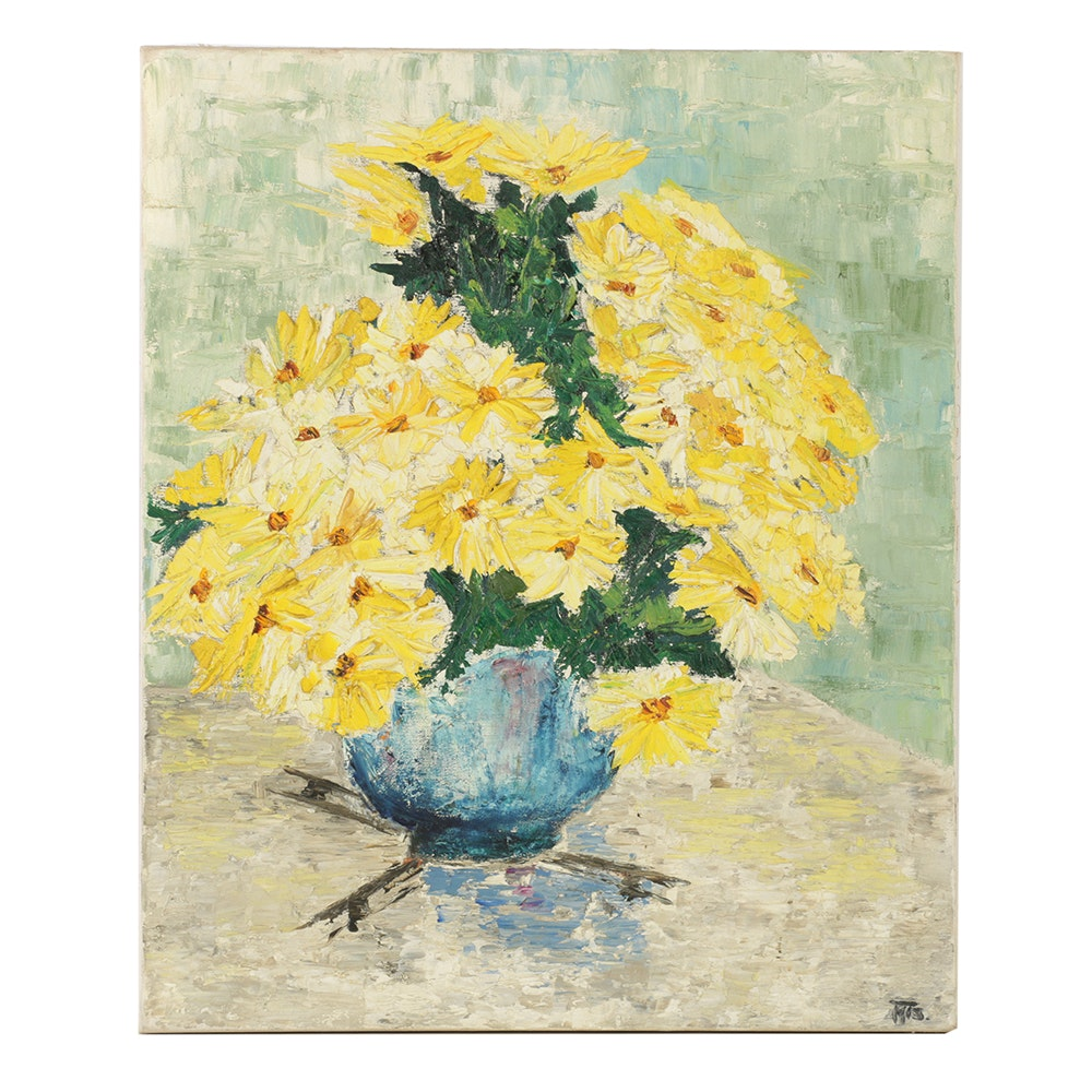Oil Painting on Canvas of Daisies