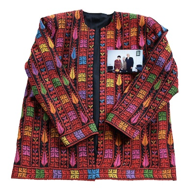 Palestinian Embroidered Coat Gifted to Arvella Schuller by Yasser Arafat (1929-2004)