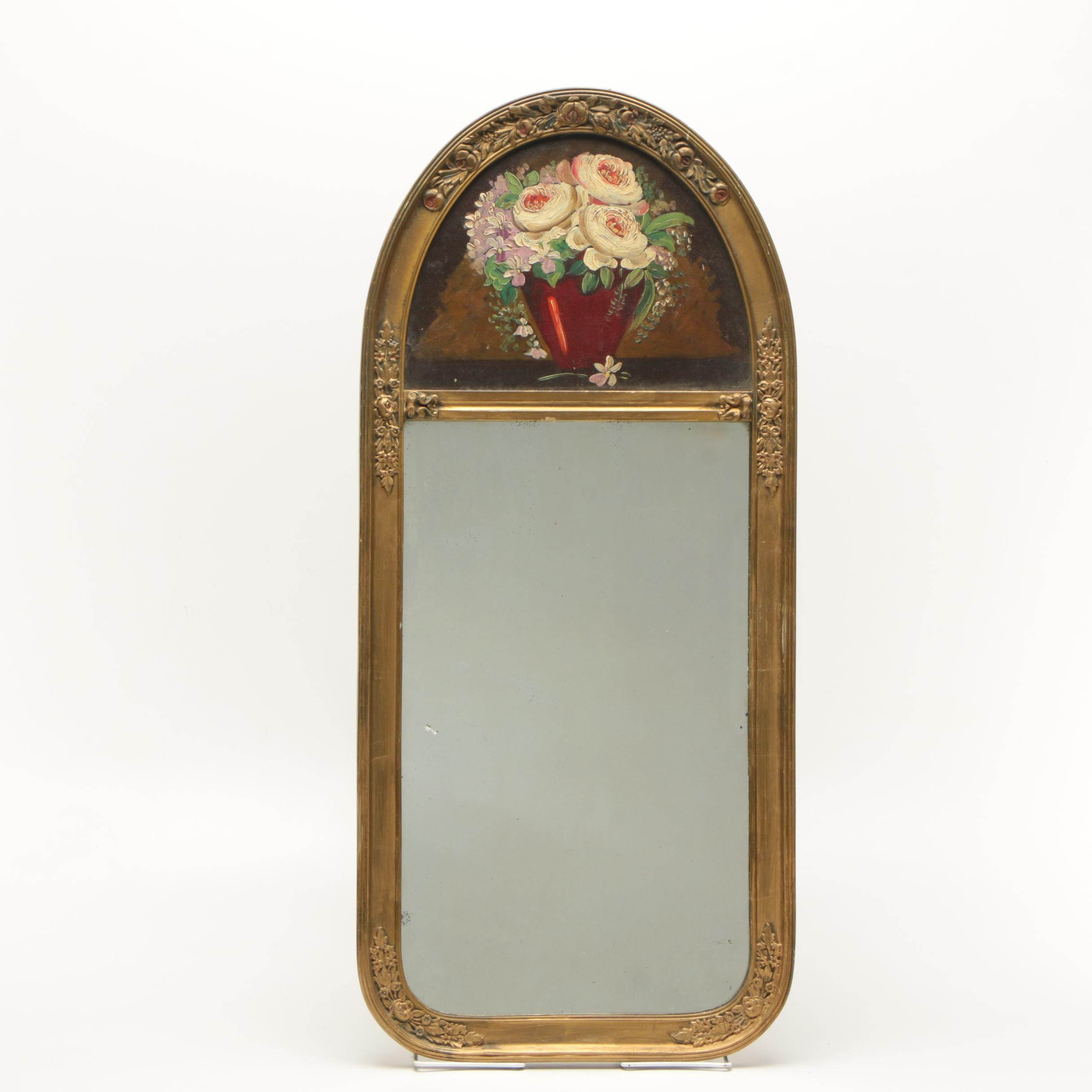 Antique Victorian Trumeau Mirror With Oil Painting Of Flowers