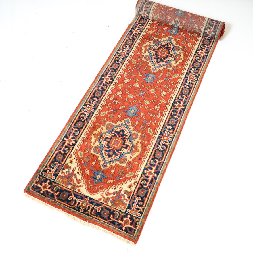 Hand Knotted Indo Persian Obeetee Wool Area Rug Ebth: 3' X 10' Hand-Knotted Indo-Persian Heriz Serapi Runner : EBTH