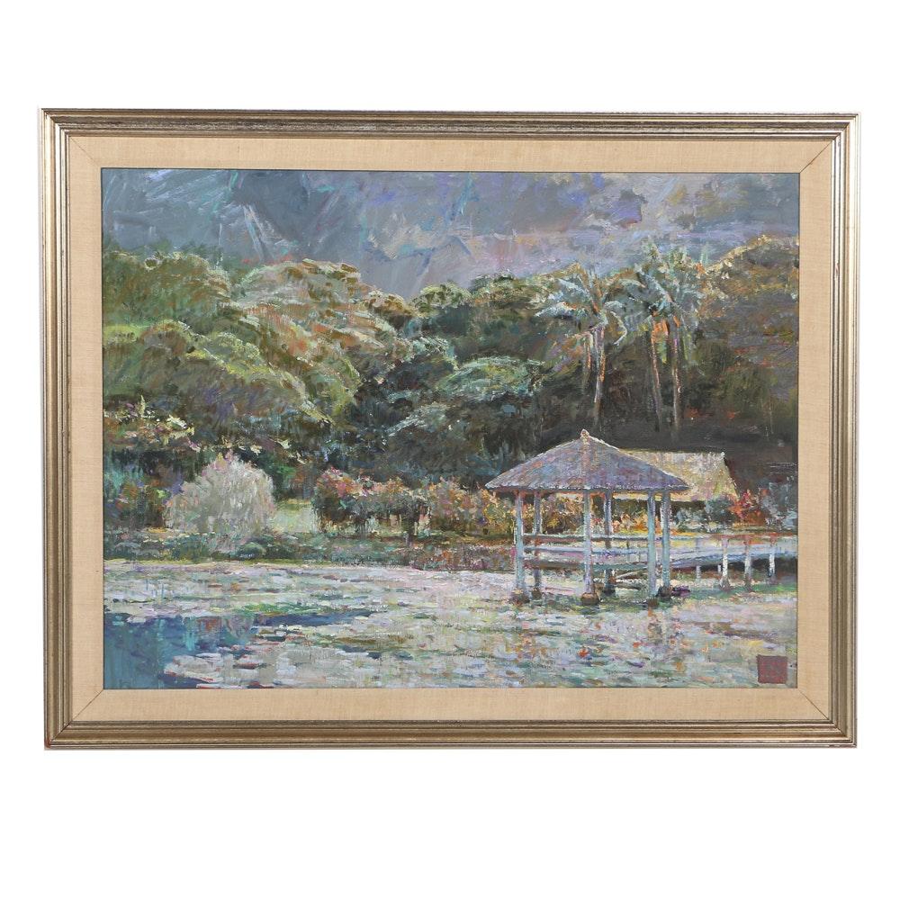Lau Chun Oil Painting on Canvas Hawaiian Landscape