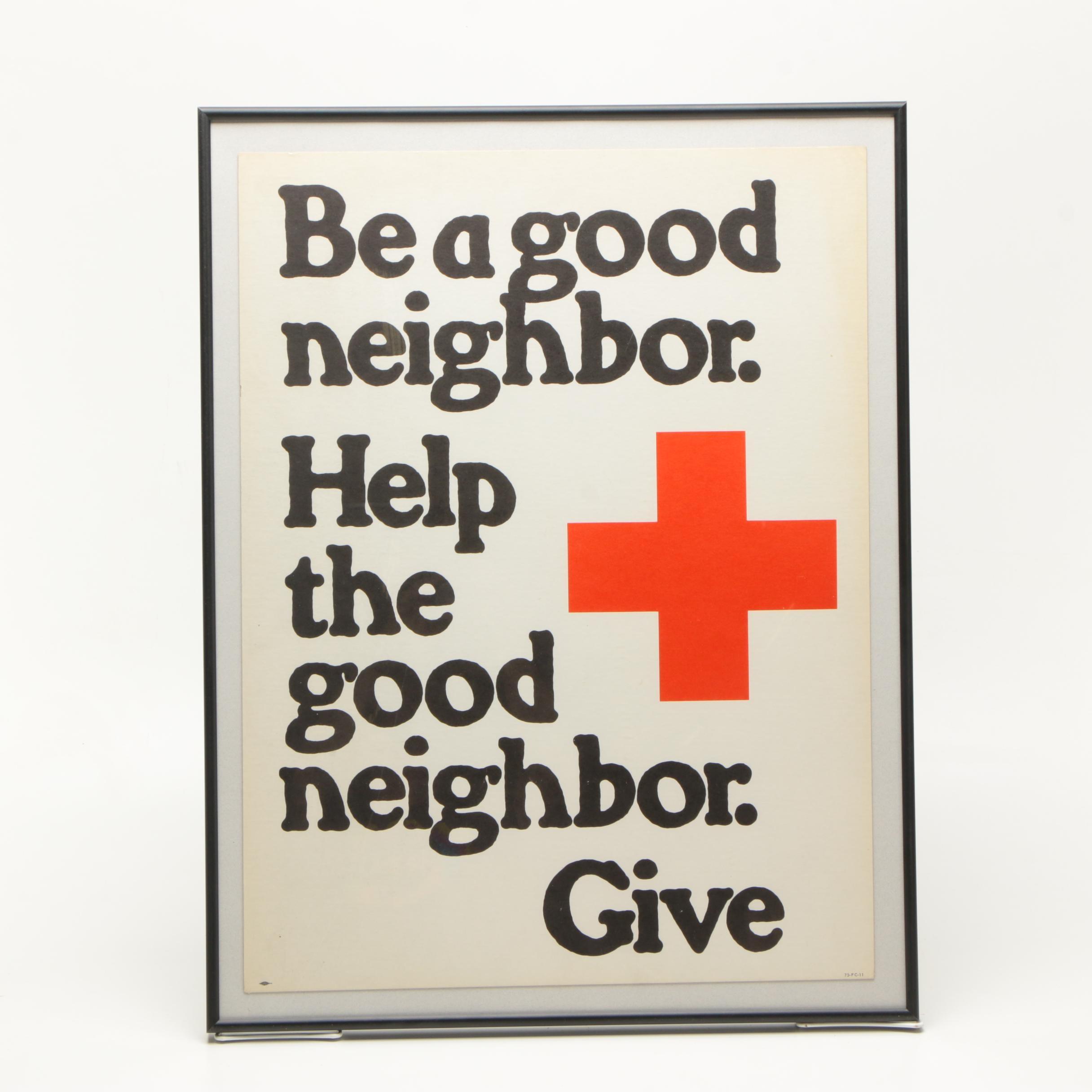 Vintage Framed Red Cross Poster