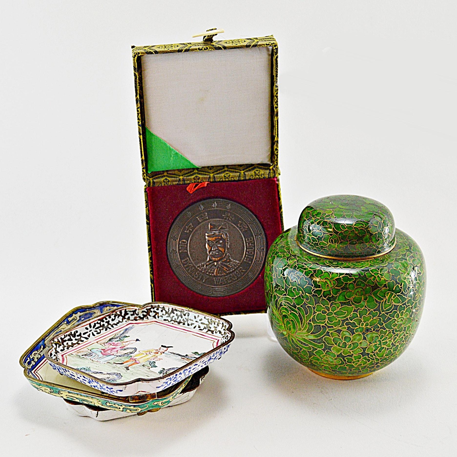 Asian Cloisonné Vase, Enamelware Dishes and Medallion