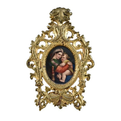 German Porcelain Madonna and Child Plaque in an Ornate Frame