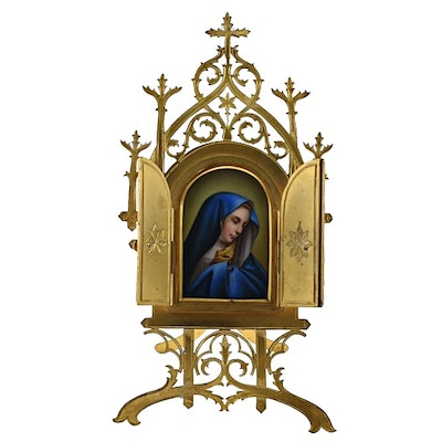 Hand Painted Porcelain Plaque of Madonna in Brass Frame