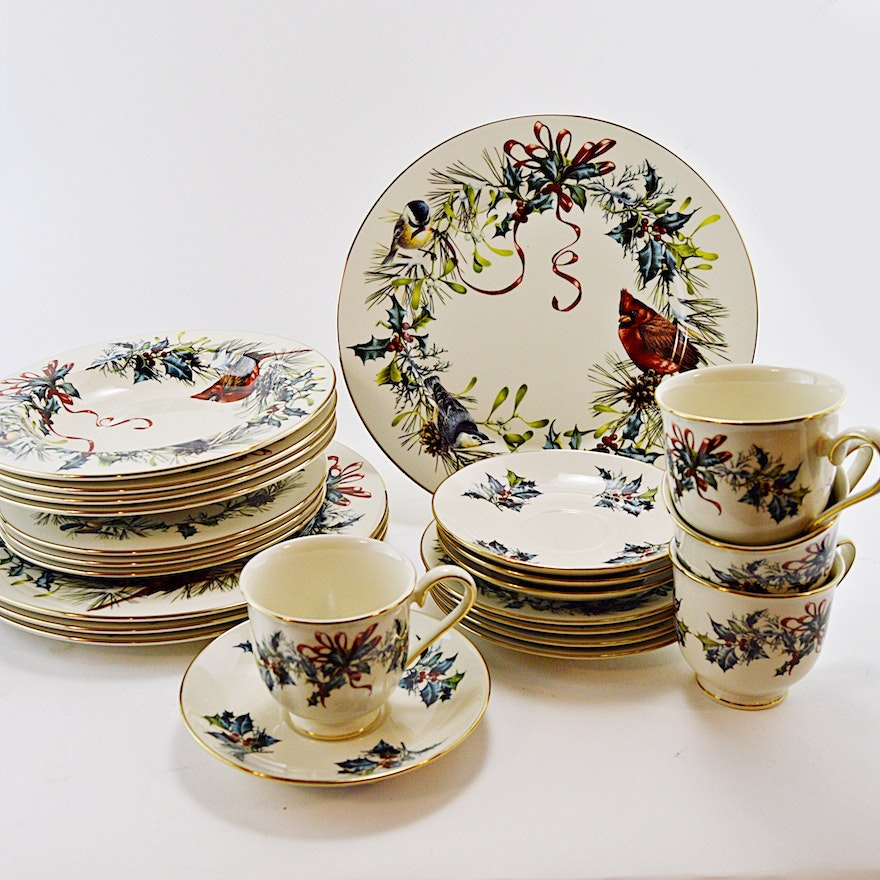 Lenox bone china winter greetings tableware set ebth lenox bone china winter greetings tableware m4hsunfo