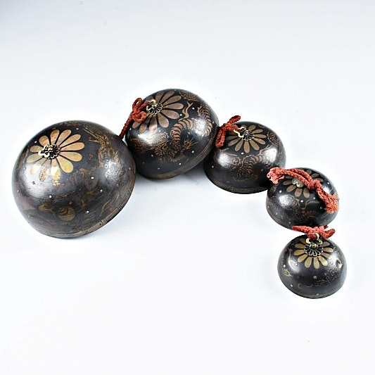 Antique Japanese Bronze Temple Bells with Serpentine Dragons