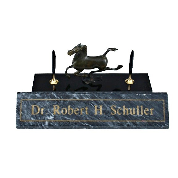 Dr. Robert Sch Marble Desk Plate and Pen Holder with Bronze Horse