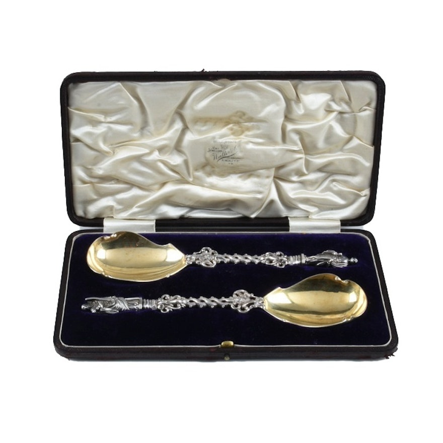 Pair of Francis Higgins Victorian Sterling Silver Apostle Spoons