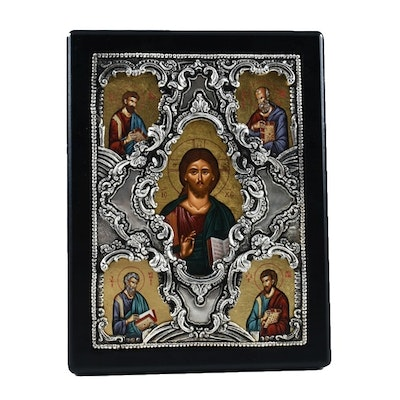 Greek Polychrome Icon with a Sterling Silver Oklad