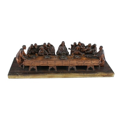 Hand Carved Wood Sculpture After Da Vinci of The Last Supper
